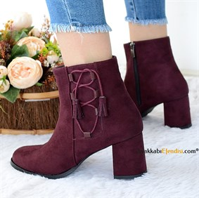 Angel Bordo Süet Bootie